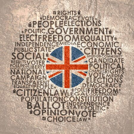 Words cloud relative for voting. Circle frame. Flag of the United Kingdom