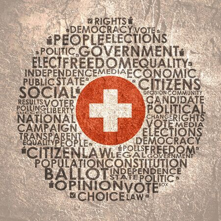 Words cloud relative for voting. Circle frame. Flag of the Switzerland Stock fotó