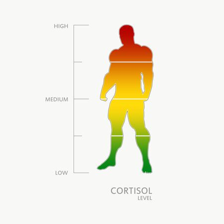 Hormone cortisol level measuring scale. Health care concept illustration. Muscular man silhouette. From red to green scale.