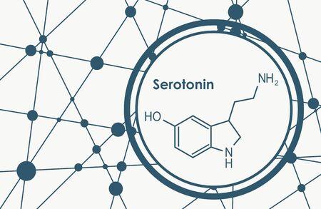 Chemical molecular formula hormone serotonin. Infographics illustration.