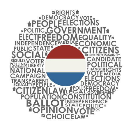 Words cloud relative for voting. Circle frame. Flag of the Netherlands