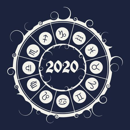 New Year and Christmas celebration card template. Zodiac circle with 2020 new year number.