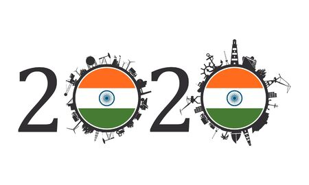 Circle with industry and sea shipping silhouettes. Objects located around the circle. Industrial design background. 2020 year number. Flag of the India Banque d'images - 133605541