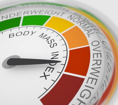 Body mass index meter read high level result. Color scale with arrow from red to green. The measuring device icon. Colorful infographic gauge element. 3D rendering