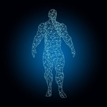 Bodybuilder and barbell silhouettes. Icon of the posing athlete. Molecule and communication style icon. Connected lines with dots.