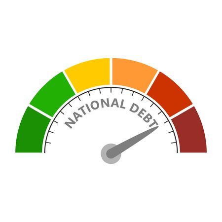 Cholesterol meter read high level of national debt result. Color scale with arrow from red to green. The measuring device icon. Vector illustration in flat style. Colorful infographic gauge element
