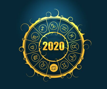 Astrological symbols in the circle. Cancer sign. New Year and Christmas celebration card template. Zodiac circle with 2020 new year number. 3D rendering Banque d'images