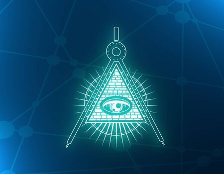 Mystical geometry neon shine symbol. Linear alchemy, occult, philosophical sign. For music album cover, poster, sacramental design. Astrology and religion concept. 3D rendering Фото со стока