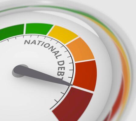 El medidor de colesterol leyó un alto nivel de resultado de la deuda nacional. Escala de colores con flecha de rojo a verde. El icono del dispositivo de medición. Elemento indicador de infografía colorido. Representación 3D