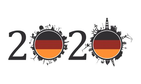 Circle with industry and sea shipping silhouettes. Objects located around the circle. Industrial design background. 2020 year number. Flag of the Germany