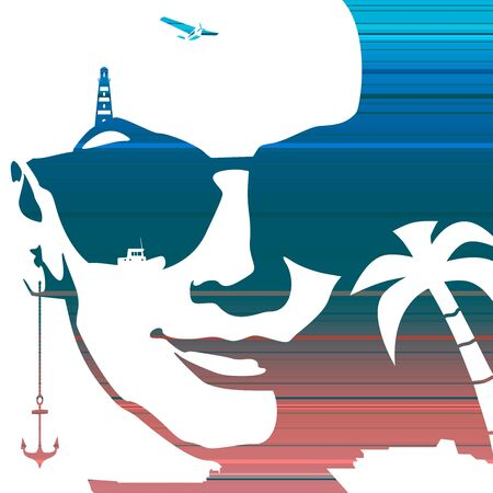 Summer vacation relative collage. Portrait of beautiful woman in sunglasses. Front view. Palm, ship, anchor and lighthouse icons. Gradient paint horizontal lines