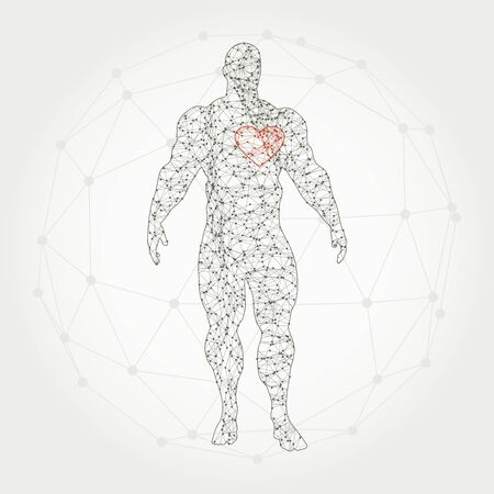 Bodybuilder silhouette. Icon of the posing athlete. Molecule and communication style icon. Connected lines with dots. Valentines day template