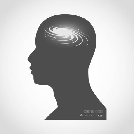 Silhouette of a man head. Mental health relative brochure, report design. Scientific medical designs. Galaxy as brains.