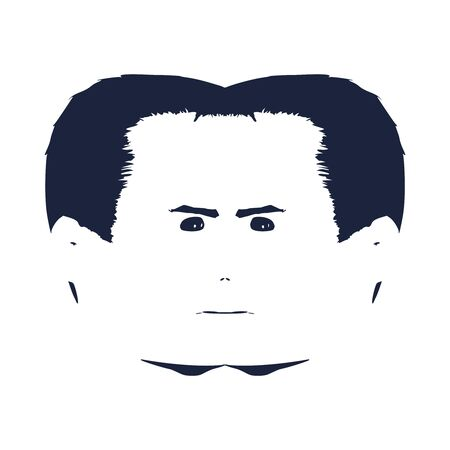 Optical illusion of two face profile view. Human head silhouette