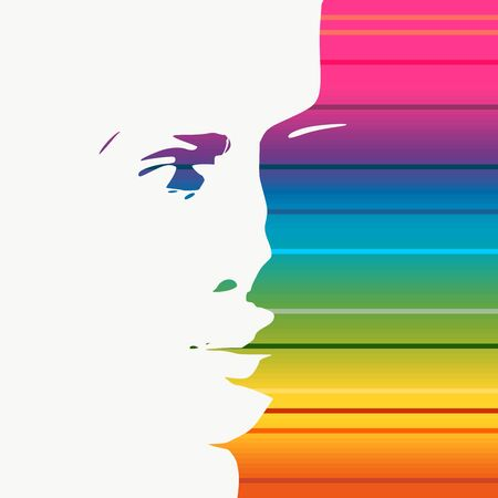 Face front view. Elegant silhouette of a female head. Portrait of a happy smiled woman. Gradient paint horizontal lines