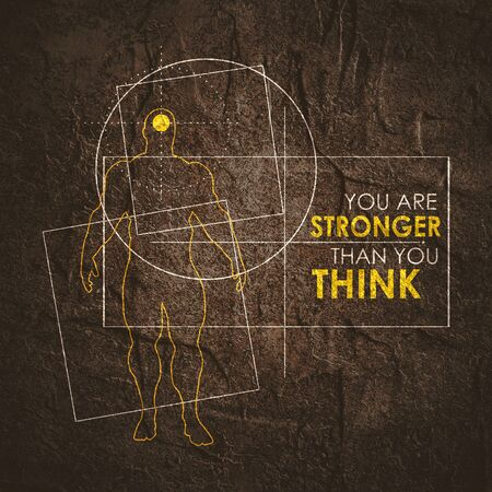 Bodybuilder and geometry shapes. Icon of the posing athlete. You are stronger than you think text. Gym and fitness motivation quote. Creative typography poster concept.