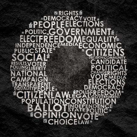 Words cloud relative for voting. Circle frame