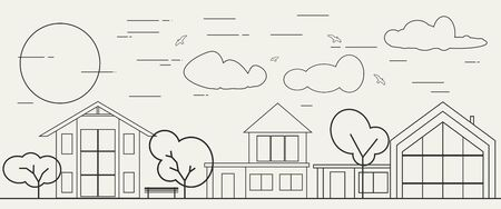 Row of different houses along the street. Home house in thin line design style. Street of large suburban homes. Family modern house Ilustrace