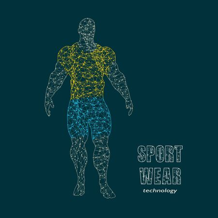 Muscular single man standing in sportswear. Concept of sport, bodybuilding, healthy lifestyle. Molecule and communication style icon. Connected lines with dots. Zdjęcie Seryjne - 134788192