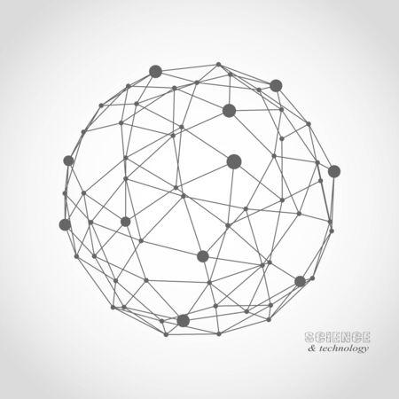 Plantilla de diseño de icono médico, tecnológico, químico y científico. Molécula y patrón de comunicación. Líneas conectadas con puntos.