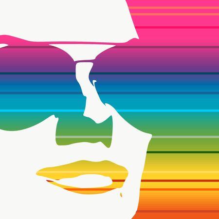 Portrait of beautiful woman in sunglasses. Gradient paint horizontal lines Stock Illustratie