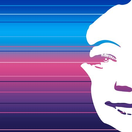 Face front view. Elegant silhouette of a female head in contrast backlight. Portrait of a happy smiled woman. Gradient paint horizontal lines Illustration