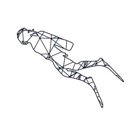 Cutout silhouette of diver textured by lines and dots pattern. The concept of sport diving. Ilustracja