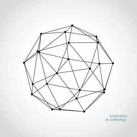 Platonic solid design. Connected lines with dots. Medical, technology, chemistry and science icon design Illusztráció