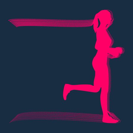 Running woman. Side view silhouette. Sport and recreation. Particles trail