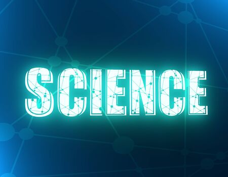 Typography Illustration Featuring the Word Science. Lines and dots decor. 3d rendering. 版權商用圖片