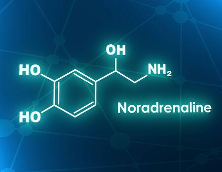 Chemical molecular formula hormone noradrenaline. Infographics illustration. 3D rendering