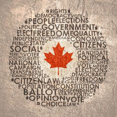 Words cloud relative for voting. Circle frame. Flag of the Canada