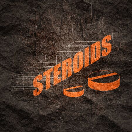 Steroids word concept and theme written in 3D style Zdjęcie Seryjne - 134788447