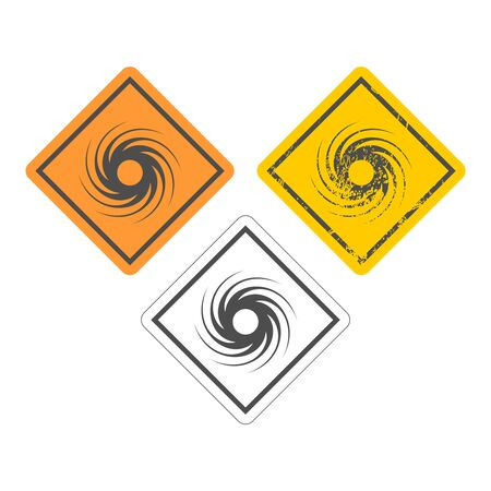 Road Sign Warning About Tornado. Twister Hurricane Countryside Wind Swirl. Icons Set Иллюстрация