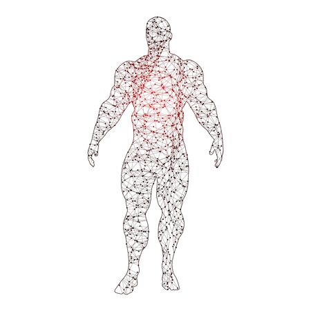 Bodybuilder silhouette. Icon of the posing athlete. Molecule and communication style icon. Connected lines with dots. Standard-Bild - 134423254