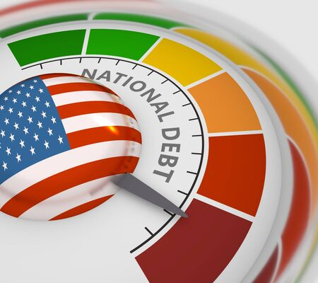 Cholesterol meter read high level of national debt result. Color scale with arrow from blue to red. The measuring device icon. Colorful infographic gauge element. 3D rendering. Flag of USA Reklamní fotografie - 134422005