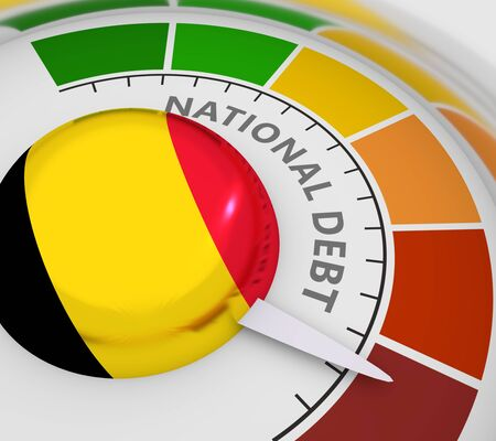 Cholesterol meter read high level of national debt result. Color scale with arrow from red to green. The measuring device icon. Colorful infographic gauge element. 3D rendering. Flag of Belgium Reklamní fotografie