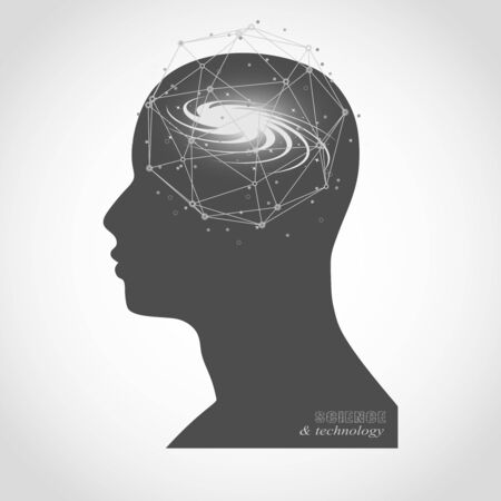 Silhouette of a man head. Mental health relative brochure, report design. Scientific medical designs. Galaxy as brains. Connected lines with dots.