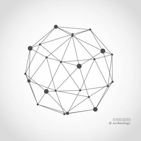 Diseño sólido platónico. Líneas conectadas con puntos. Diseño de iconos médicos, tecnológicos, químicos y científicos