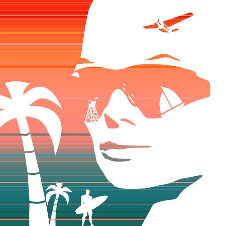 Summer vacation relative collage. Portrait of beautiful woman in sunglasses. Half turn view. Palms, surfer and sailboat icons. Gradient paint horizontal lines