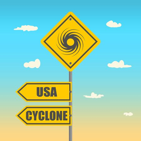 Road Sign Warning About Tornado. Twister Hurricane Countryside Wind Swirl. Road Arrows with USA and Cyclone Words