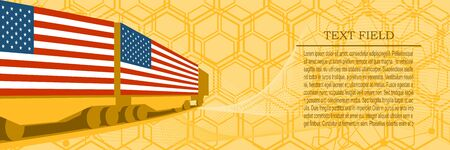 Train freight transportation. Cargo transit. Container textured by flag of the USA