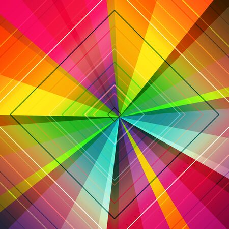 Radiación, líneas convergentes, rayos de fondo multicolor. Explosión de estrellas, telón de fondo abstracto sunburst