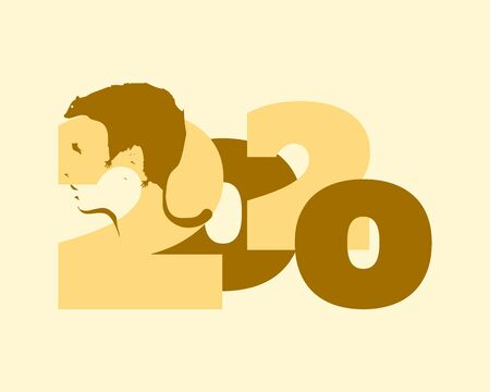 New Year greeting card template. 2020 year number. Brochure or report design template. Optical illusion. Human head with abstract rat as haircut Illustration
