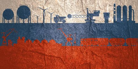 Energy and power icons set on Russia flag backdrop. Header or footer banner. Sustainable energy generation, transportation and heavy industry.