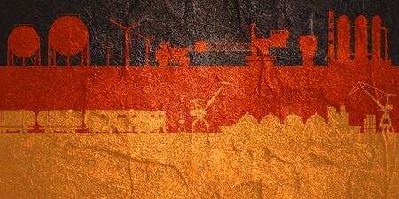 Energy and power icons set on Germany flag backdrop. Header or footer banner. Sustainable energy generation, transportation and heavy industry. Zdjęcie Seryjne - 134314536