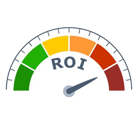 Color scale with arrow from green to red. The measuring device icon. Sign tachometer, speedometer, indicators. Colorful infographic gauge element. ROI means return on investment