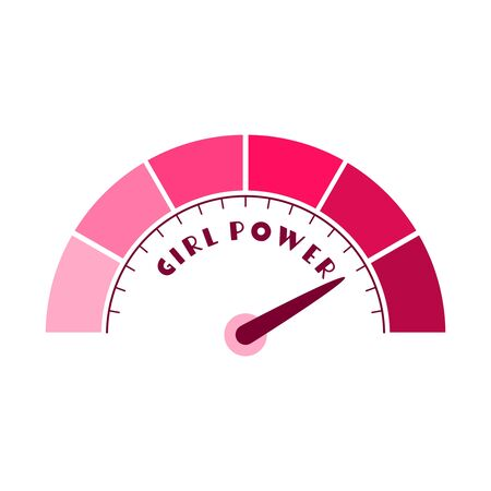 Color scale with arrow from pink to dark pink. The measuring device icon. Girl power text. Reklamní fotografie - 134359644