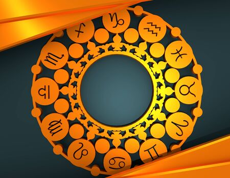 Astrological symbols in the circle. . New Year and Christmas celebration card template. Zodiac circle. Golden material. 3D rendering Archivio Fotografico - 134359657