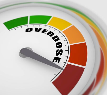 Color scale with arrow from red to green. The measuring device icon. Sign tachometer, speedometer, indicators. Colorful infographic gauge element. Overdose text. 3D rendering